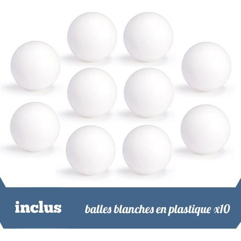 pack 10 balles en plastique blanc