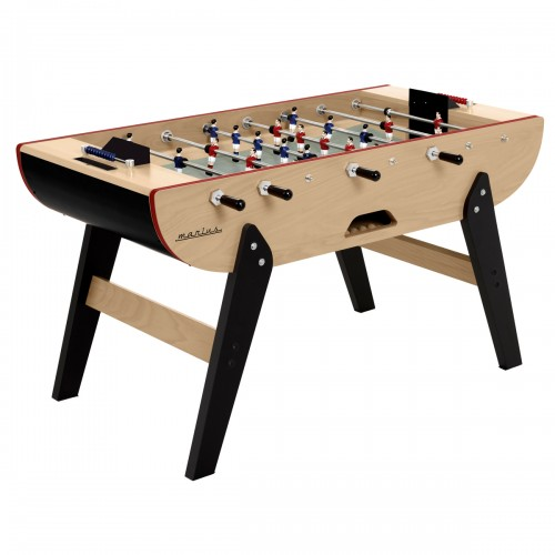 red imitation leather foosball table