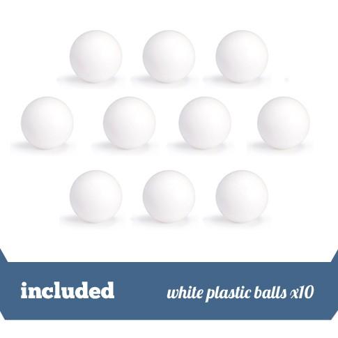 pack 10 white plastic balls